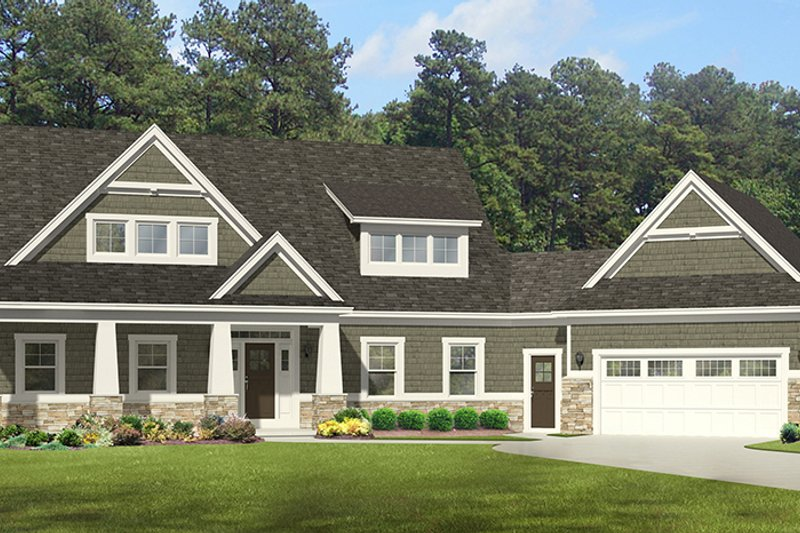 Craftsman Exterior - Front Elevation Plan #1010-110