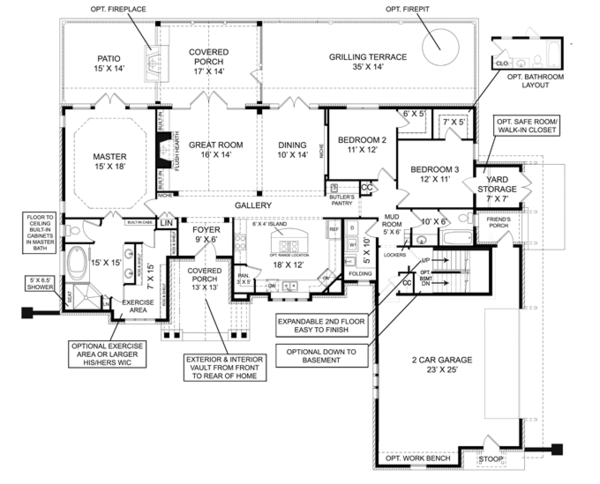European Floor Plan - Main Floor Plan Plan #119-420