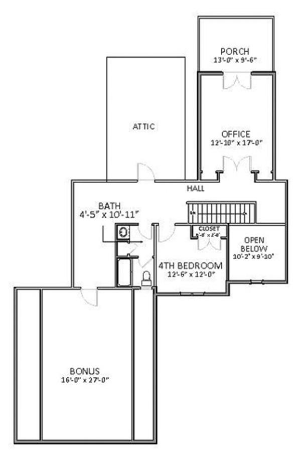 Traditional Floor Plan - Upper Floor Plan Plan #898-37
