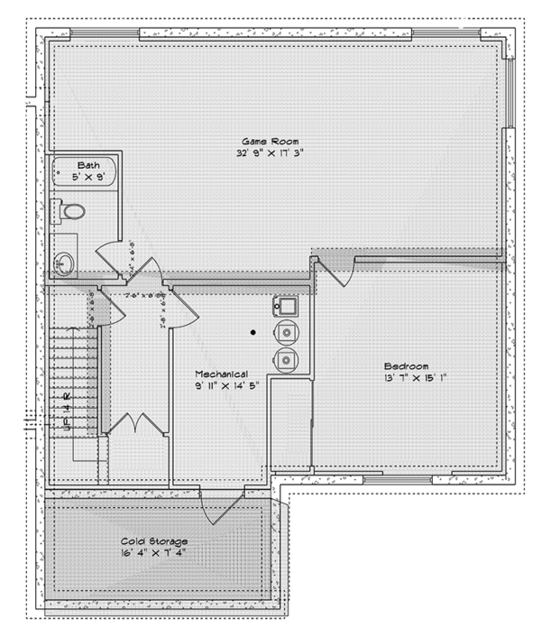 Traditional Floor Plan - Lower Floor Plan Plan #1060-15