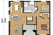 European Style House Plan - 2 Beds 1 Baths 1210 Sq/Ft Plan #25-4466 Exterior - Front Elevation
