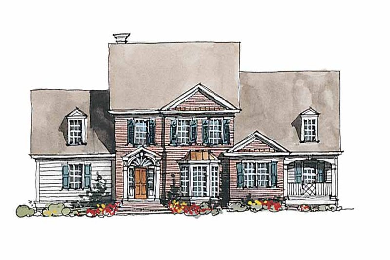 Front Elevation Set Design : Colonial style house plan beds baths sq ft
