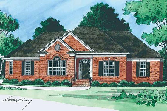 Colonial Exterior - Front Elevation Plan #1054-2
