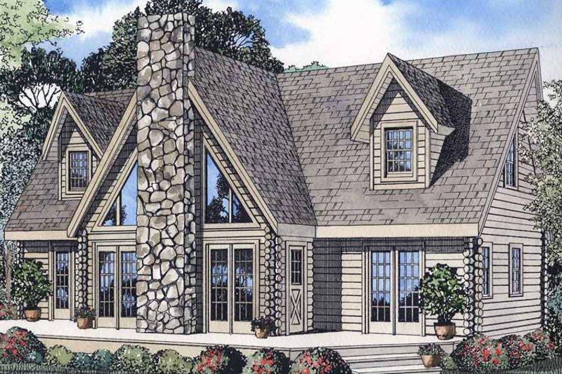 Log Exterior - Front Elevation Plan #17-2971 - Houseplans.com