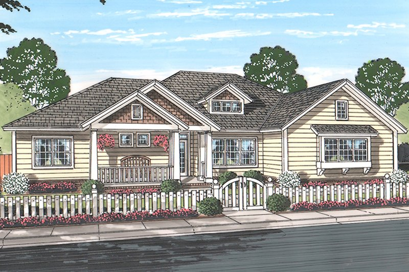 Ranch Exterior - Front Elevation Plan #513-2159