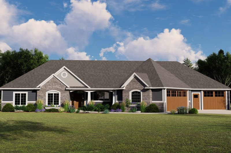 Architectural House Design - Craftsman Exterior - Front Elevation Plan #1064-78
