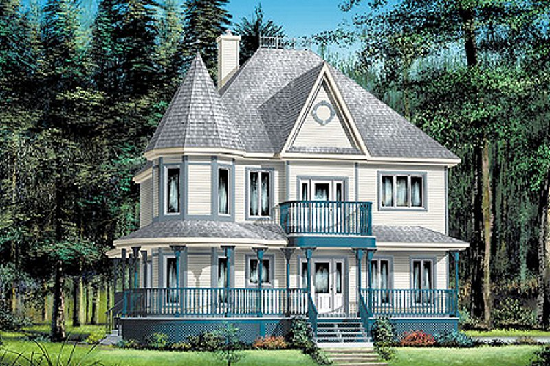 Victorian Style House Plan - 3 Beds 3 Baths 2418 Sq/Ft Plan #25-282 Exterior - Front Elevation