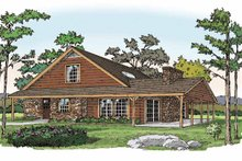 Home Plan - Log Exterior - Front Elevation Plan #314-218