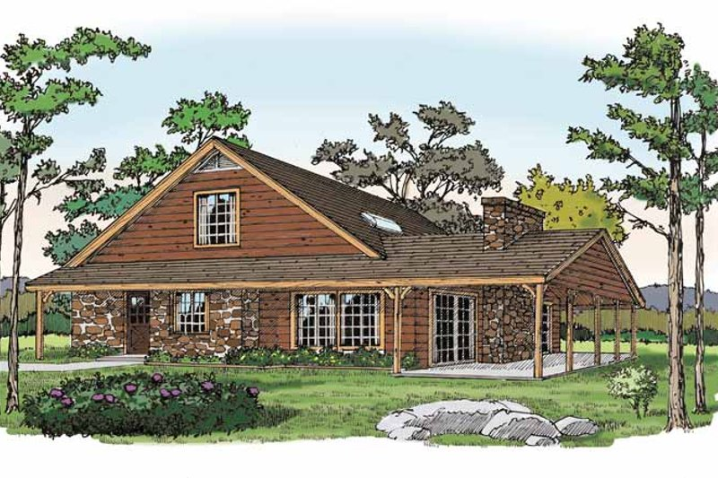 Log Exterior - Front Elevation Plan #314-218