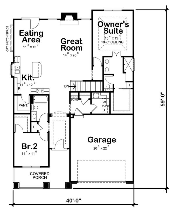 Architectural House Design - Ranch Floor Plan - Main Floor Plan #20-2304