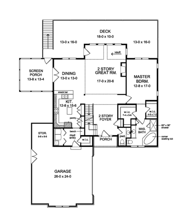 Colonial Floor Plan - Main Floor Plan Plan #1010-109