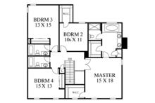 Colonial Floor Plan - Upper Floor Plan Plan #1053-69