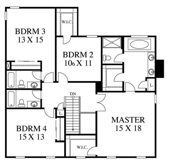 House Plan Design - Colonial Floor Plan - Upper Floor Plan #1053-69