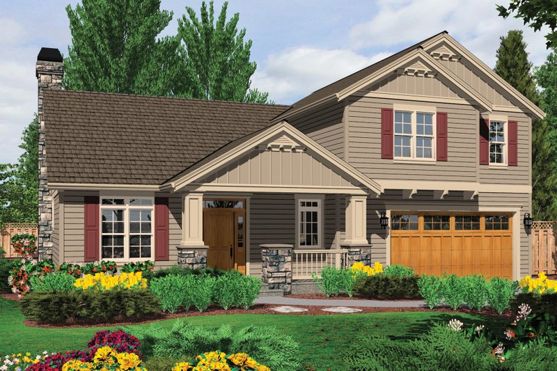 Craftsman Exterior - Front Elevation Plan #48-537