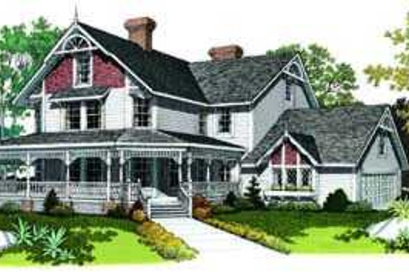 Farmhouse Style House Plan - 5 Beds 3.5 Baths 3722 Sq/Ft Plan #72-186 Exterior - Front Elevation