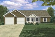 Ranch Style House Plan - 3 Beds 2.5 Baths 1400 Sq/Ft Plan #21-113 Exterior - Front Elevation