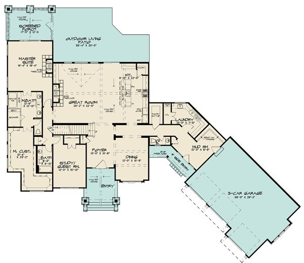 Dream House Plan - Craftsman Floor Plan - Main Floor Plan #17-3423