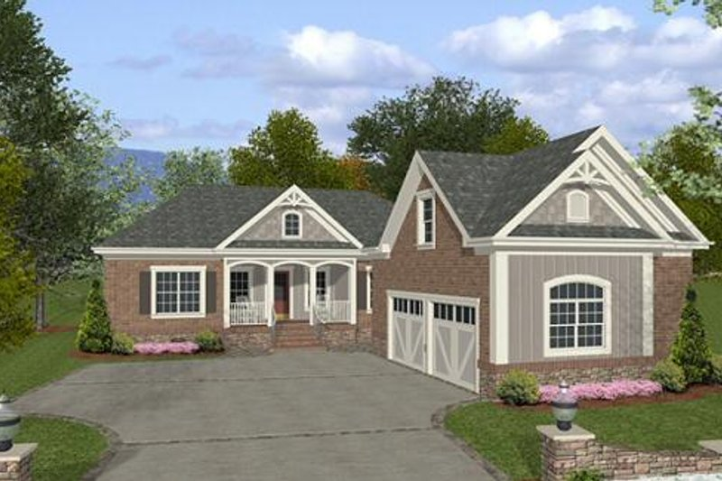 Southern Exterior - Front Elevation Plan #56-555