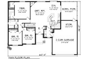 Ranch Style House Plan - 3 Beds 2 Baths 1520 Sq/Ft Plan #70-1077 Floor Plan - Main Floor