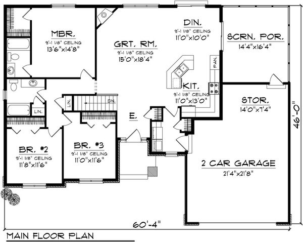 Ranch Floor Plan - Main Floor Plan Plan #70-1077