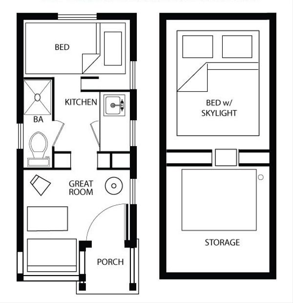 Cottage Style House Plan - 1 Beds 1 Baths 112 Sq/Ft Plan #896-4 Floor Plan - Main Floor Plan