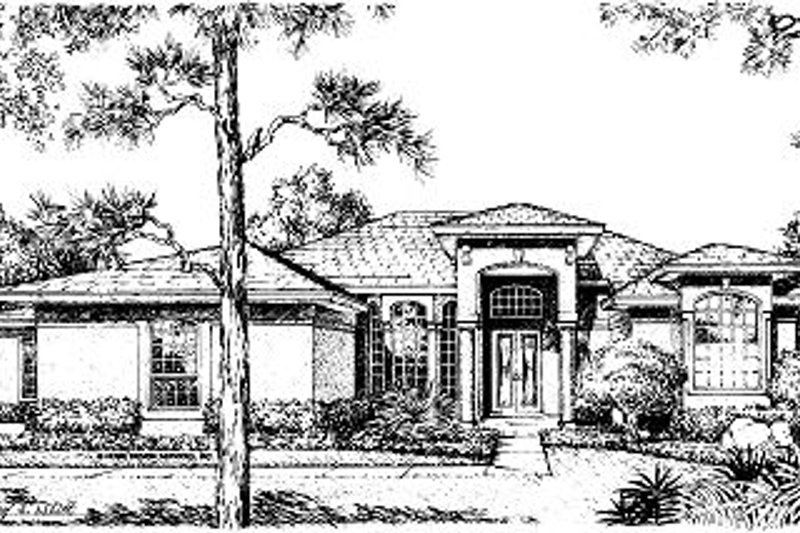 Mediterranean Style House Plan - 4 Beds 3.5 Baths 2441 Sq/Ft Plan #417-265 Exterior - Front Elevation