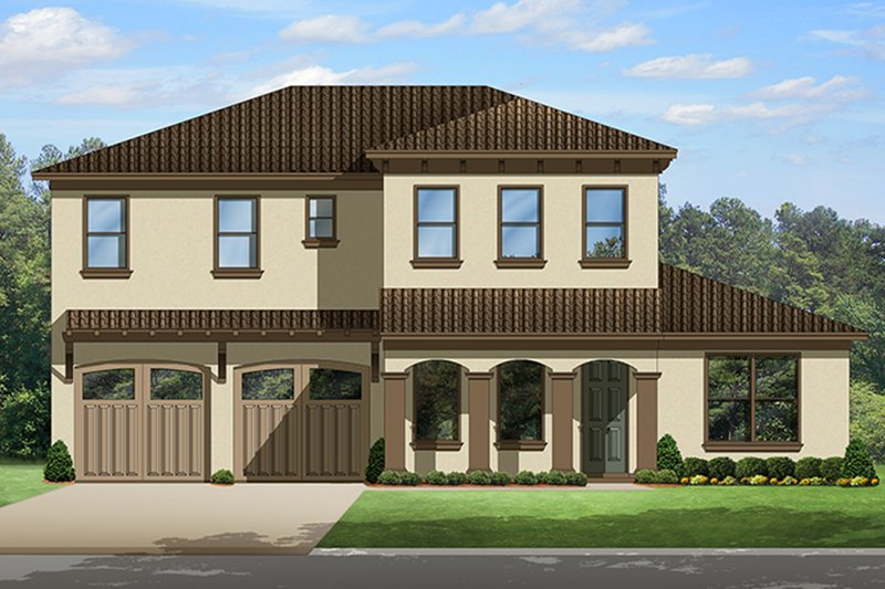 Mediterranean Style House Plan - 4 Beds 3 Baths 2776 Sq/Ft Plan #1058-131 Exterior - Front Elevation