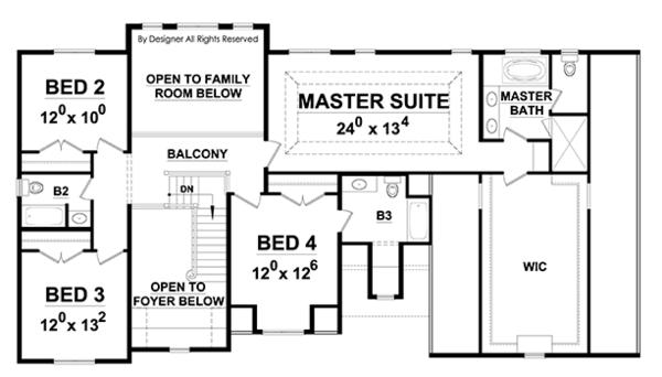 European Floor Plan - Upper Floor Plan Plan #20-2247