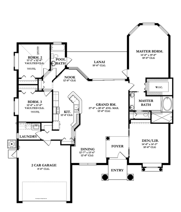 Mediterranean Floor Plan - Main Floor Plan Plan #1058-41