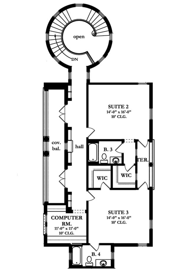 Mediterranean Floor Plan - Upper Floor Plan Plan #1058-12