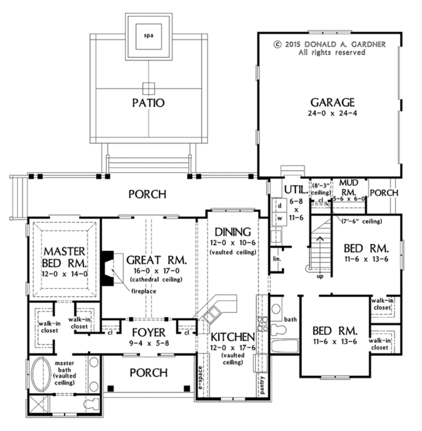 Ranch Floor Plan - Main Floor Plan #929-1011