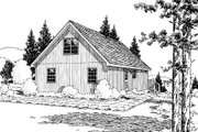 Country Style House Plan - 3 Beds 1 Baths 1027 Sq/Ft Plan #312-536 Exterior - Rear Elevation