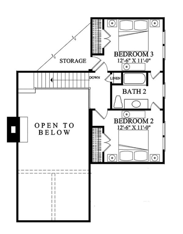Craftsman Floor Plan - Upper Floor Plan Plan #137-363