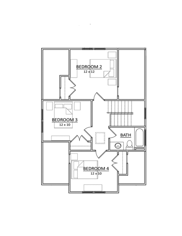Craftsman Floor Plan - Upper Floor Plan Plan #936-2