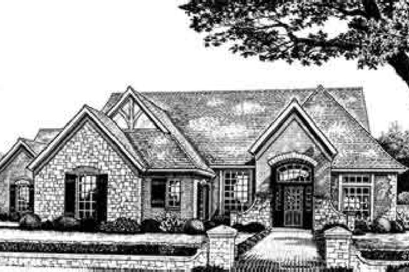 European Style House Plan - 4 Beds 3 Baths 2463 Sq/Ft Plan #310-255 Exterior - Front Elevation