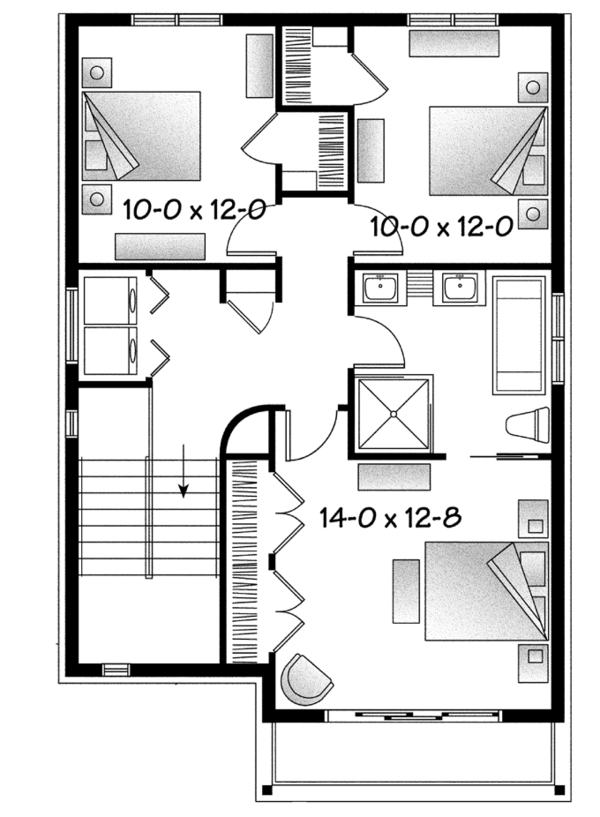 Contemporary Floor Plan - Upper Floor Plan Plan #23-2584