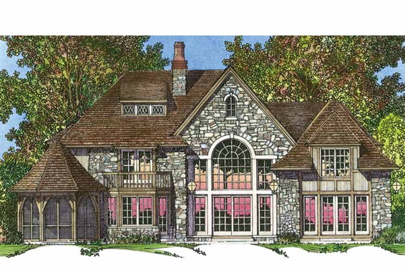 European Exterior - Rear Elevation Plan #1016-97 - Houseplans.com