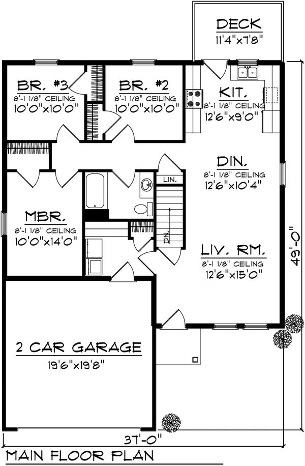 Ranch Floor Plan - Main Floor Plan Plan #70-1016