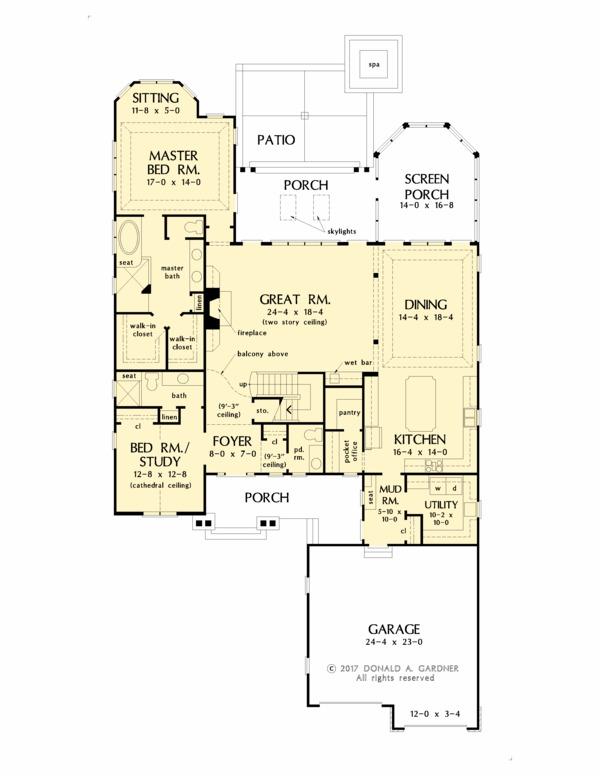 Country Floor Plan - Main Floor Plan #929-1060