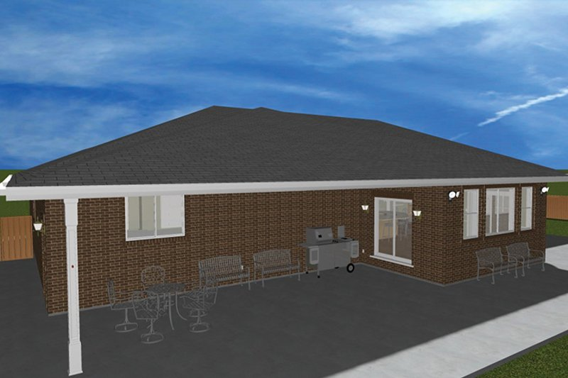 Ranch Exterior - Rear Elevation Plan #1060-27 - Houseplans.com