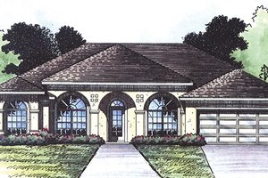 House Plan Design - Mediterranean Exterior - Front Elevation Plan #417-803