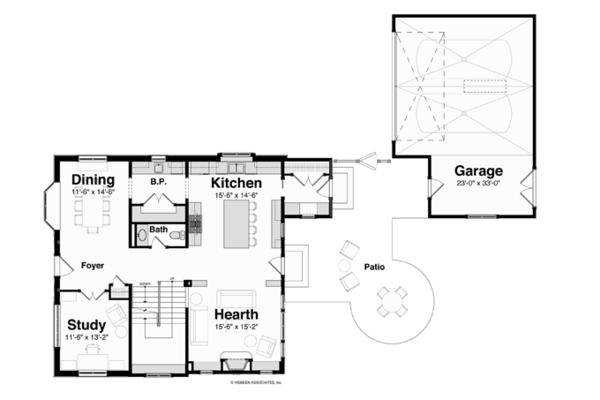 House Plan Design - Tudor Floor Plan - Main Floor Plan #928-257