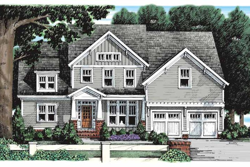 Craftsman Exterior - Front Elevation Plan #927-930