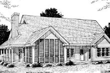 Home Plan Design - Country Exterior - Rear Elevation Plan #20-183