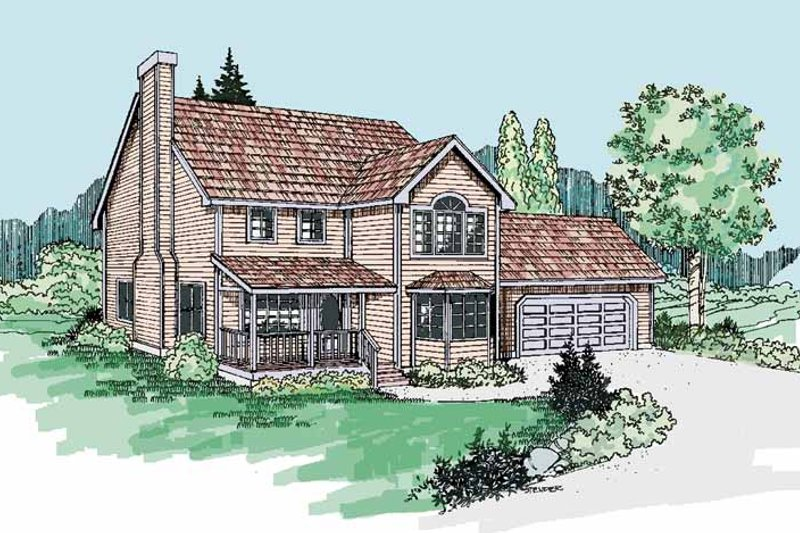 Country Exterior - Front Elevation Plan #60-665