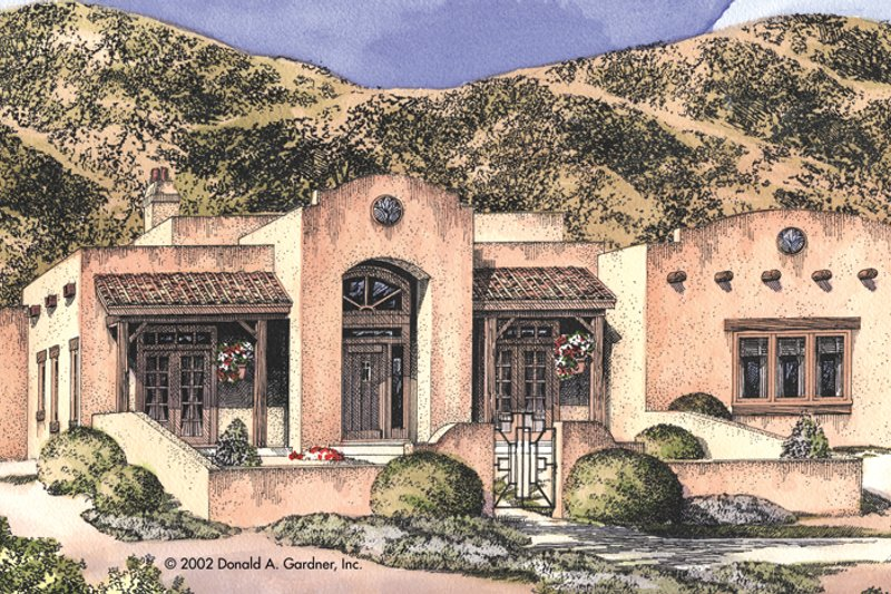 Adobe / Southwestern Exterior - Front Elevation Plan #929-684