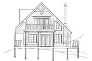 European Style House Plan - 2 Beds 2 Baths 1154 Sq/Ft Plan #118-142 Exterior - Rear Elevation