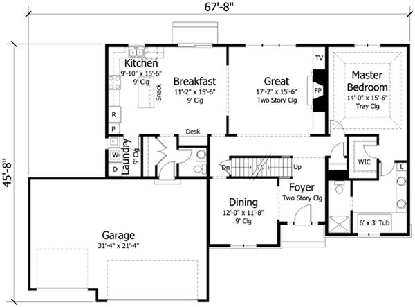 Traditional Floor Plan - Main Floor Plan Plan #51-405