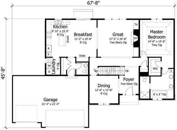 Traditional Floor Plan - Main Floor Plan Plan #51-405