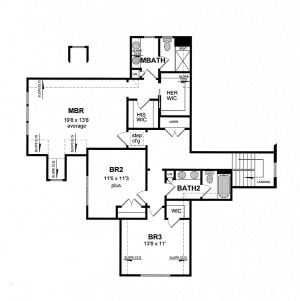 House Plan Design - Colonial Floor Plan - Upper Floor Plan #316-276